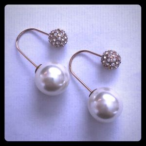 Jewelry - Double Ball Earrings, cubic zirconia bezel & pearl